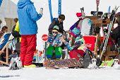 SOCHI, RUSSIA - MARCH 22, 2014: Tourists in mountain ski resort Rosa Khutor,