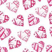 Pink wicker hearts seamless vector print