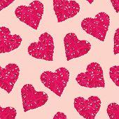 Almond wicker hearts seamless vector print