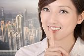 Silent sign with beautiful businesswoman of Asian.