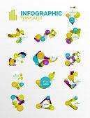 Set of modern business infographics. Shiny abstract geometric forms