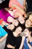 Group Of Beautiful Sporty Girls Taking Selfie, Self-portrait With Smartphone View From Top