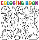 Coloring book with flower theme 6 - eps10 vector illustration.
