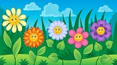 Flowers on meadow theme 3 - eps10 vector illustration.