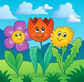 Flowers on meadow theme 1 - eps10 vector illustration.