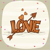 Happy Valentines Day celebration with wooden text Love, arrow and hearts on stylish background.