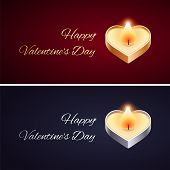 Simple Valentines Day Card with Golden and Silver Candle