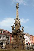 Baroque plague column designed by sculptor Matthias Bernard Braun in Jaromer, Central Bohemia, Czech Republic.