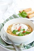 Spicy oriental noodle with poached egg poster