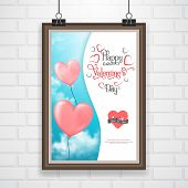 Valentine's poster with heart-shaped ballons