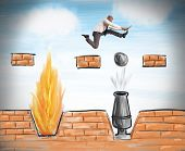 stock photo of overcoming obstacles  - A businessman runs to overcome difficult obstacles - JPG