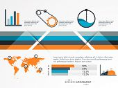 Creative professional infographic layout for your business presentation with bar, setting, graph, map and statistics.