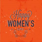 Elegant greeting card design for International Women's Day celebration on grungy orange background.