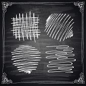 Hand-drawn vector design elements on a chalkboard