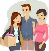 Illustration of Parents Sending Off Their Teenage Daughter to College