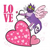 Valentine's Day greeting Card  Cat cupid