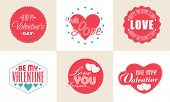 Collection of sticker or labels for Happy Valentines Day celebration.