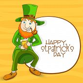 Happy leprechaun with smoking pipe and beer on yellow background for Happy St. Patrick's Day celebration.