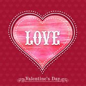 Beautiful greeting card design with text Love on pink heart for Happy Valentines Day celebration.