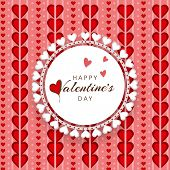 Happy Valentines Day celebration with beautiful frame on red hearts decorated background.