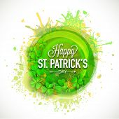Happy St. Patrick's Day celebration with Irish lucky clover leaf and gold coins on color splash background.