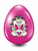 Easter Bunny Hidden In Egg Hollow Over White