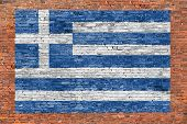 Flag Of Greece Painted Over Brick Wall