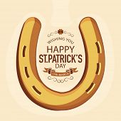 pic of saint patrick  - Golden horseshoe for  Happy St - JPG