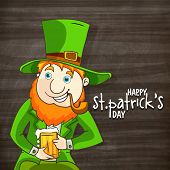 Happy leprechaun with smoking pipe and beer mug for St. Patrick's Day celebration.