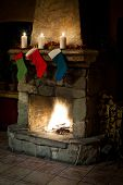 Christmas Stocking On Fireplace Background. Chimney Place.