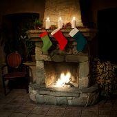 Christmas Stocking On Fireplace Background. Chimney Place.