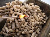 fire and wood pellets