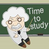 stock photo of time study  - Old brainy professor point to time to study text on chalkboard - JPG