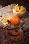 Mulled Wine Preparation, Orange, Honey, Cinnamon, Carnation And An Anise