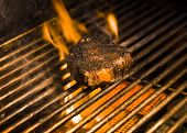 Steak On A Flaming Grill