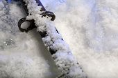Old bayonet in ice