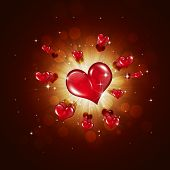 Red Hearts On Red Background
