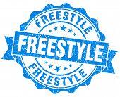 Freestyle Blue Grunge Seal Isolated On White