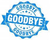image of goodbye  - goodbye blue grunge seal isolated on white - JPG