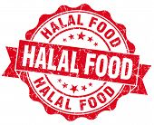 Halal Food Red Grunge Seal Isolated On White