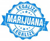 Legalize Marijuana Blue Grunge Seal Isolated On White