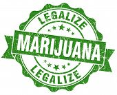 Legalize Marijuana Green Grunge Seal Isolated On White