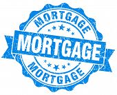 Mortgage Blue Grunge Seal Isolated On White