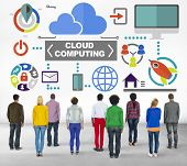 People Togetherness Rear View Global Communications Cloud Computing Concept