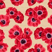 Seamless vintage pattern with poppies flower