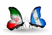 Two Butterflies With Flags On Wings As Symbol Of Relations Iran And Guatemala