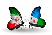 Two Butterflies With Flags On Wings As Symbol Of Relations Iran And Djibouti