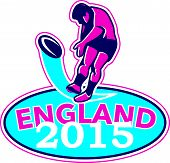 Rugby Player Kicking Ball England 2015 Retro