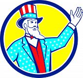 Uncle Sam American Hand Up Circle Retro