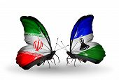 Two Butterflies With Flags On Wings As Symbol Of Relations Iran And Lesotho